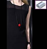Колье винтаж, черная цепь, металлическая основа, красный шар диаметром 2.5 см