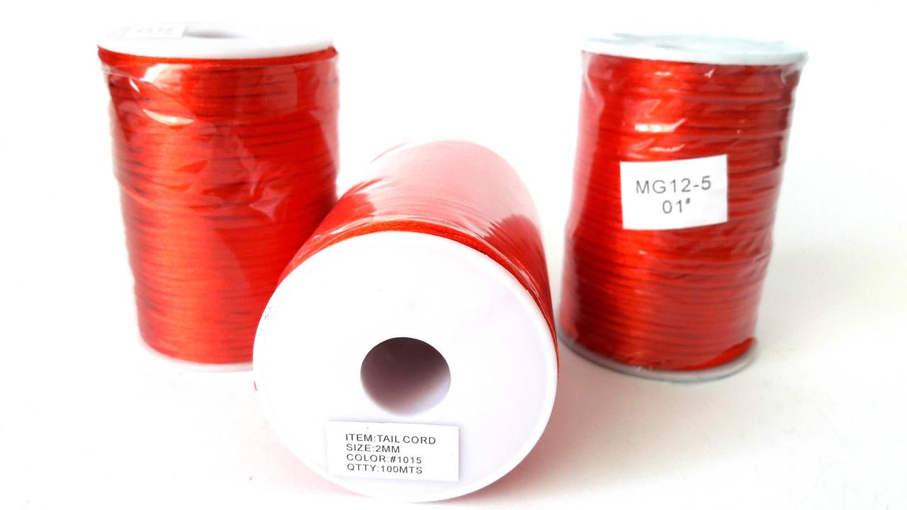 Шнур(d1.5-2мм) для браслетов Шамбала красный, шёлковый. И для красной нити (~100метров)
