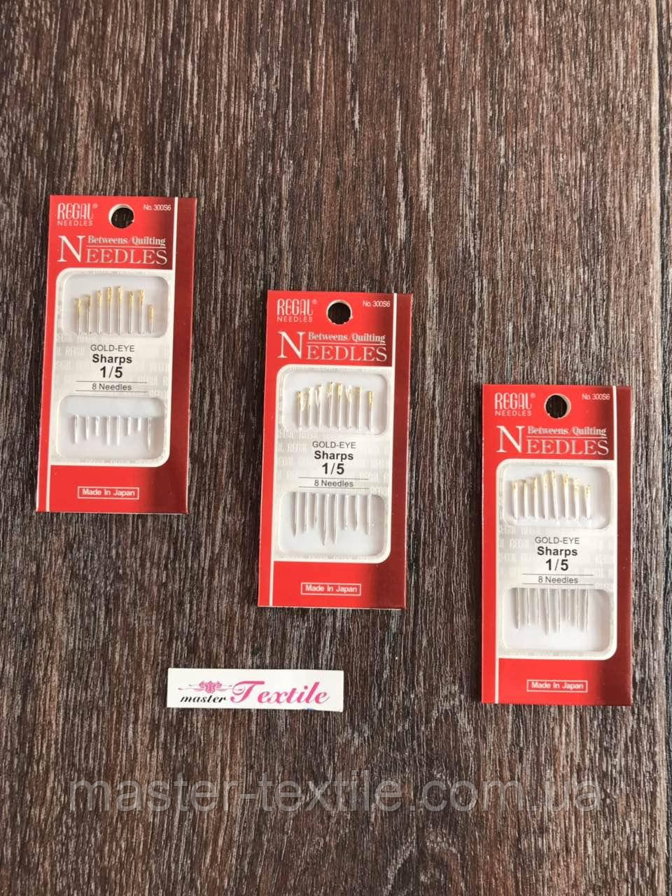 Голки швейні NEEDLES 1\5 (8 шт) для сліпих, золоті вушка