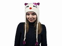 """Зверошапка """"Белый Кот"""": 100% шерсть, ручная вязка. Размер: универсальный (29х26 см)"""