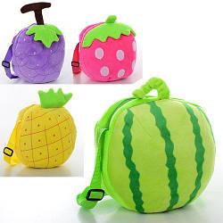 Сумочка X11343 (75шт) ягоды-фрукты,19-19-4см,дл.ручка,застеж-молния,1отд,плюш,4вида