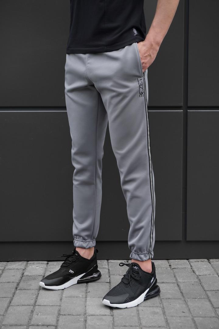 Спортивные штаны beZet grey with reflective, спортивные серые штаны с лампасами