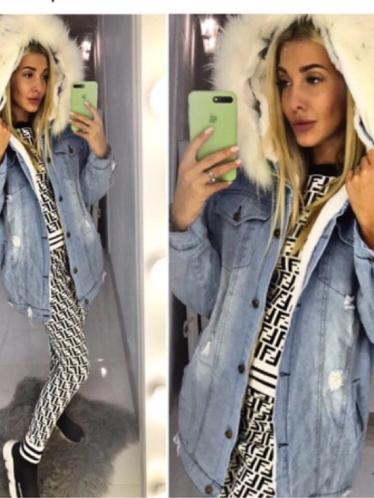 Джинсовая куртка удлинённая с мехом, 3 цвета
