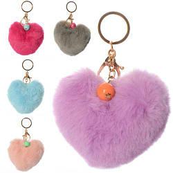 Брелок PD1 (300шт) помпон, сердце, мех, микс цветов, в кульке, 9-10-4см