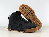 Ботинки зимние мужские в стиле Nike Karstman код товара 4S-1168. Черные с рыжей подошвой