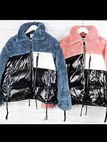 Дутая куртка мех и плащевка, 2 цвета, фото 1