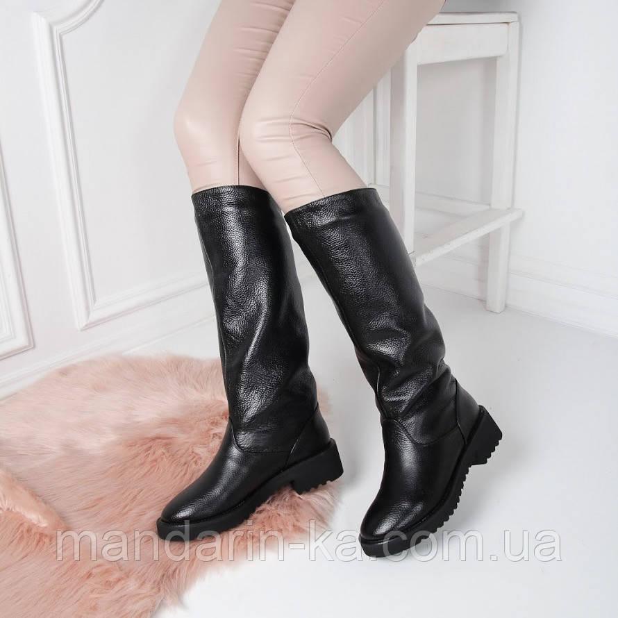Женские зимние  сапоги черные натуральная  кожа