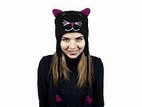 """Зверошапка """"Черный Кот"""": 100% шерсть, ручная вязка. Размер: универсальный (27х26 см)"""