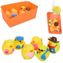 Животное 32865 (120шт) для купания, цыпленок, 6шт, от6,5см, брызгалка, в ящике,в сетке, 21-13-8см