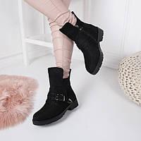 Женские зимние  ботинки черные, фото 1