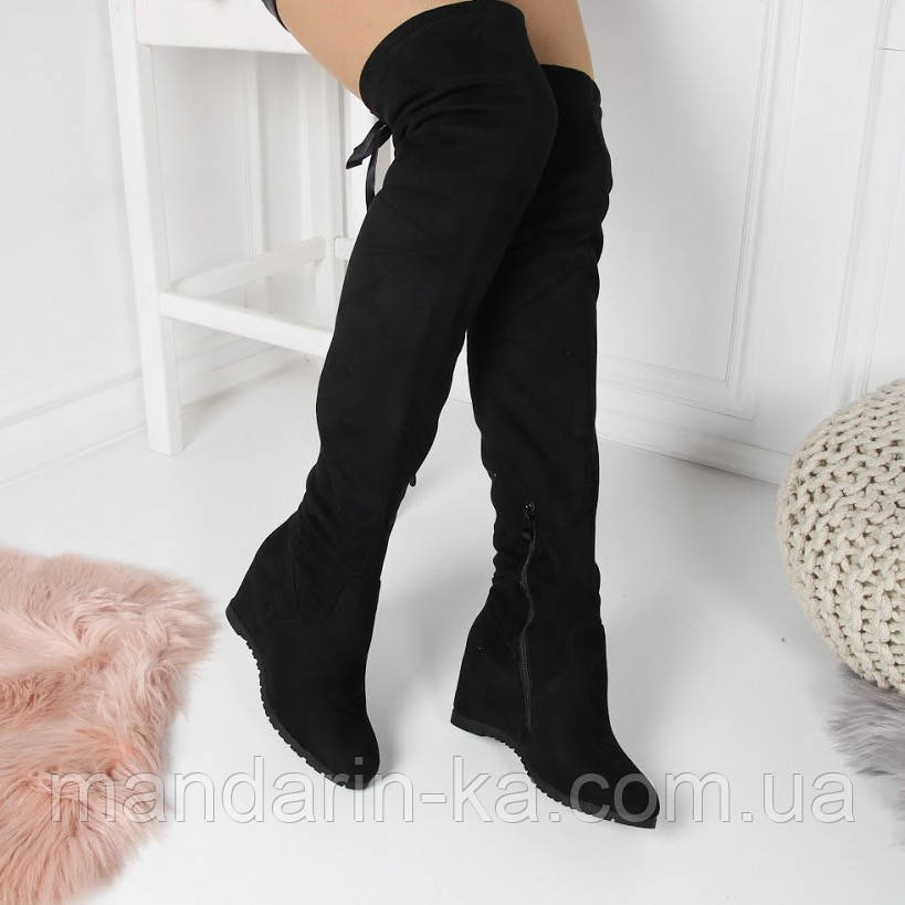 Женские демисезонные  ботфорты черные