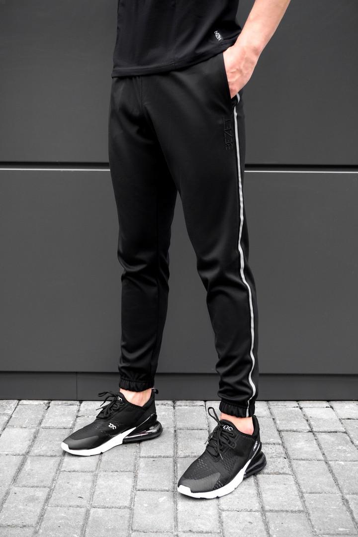 Спортивные черные штаны beZet black with reflective, черные спортивные штаны с лампасами