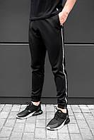 Спортивные черные штаны beZet black with reflective, черные спортивные штаны с лампасами, фото 1