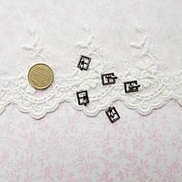 Мини пряжка для кукольной одежды и сумок, прямоугольная, 9*7 мм - гунметал