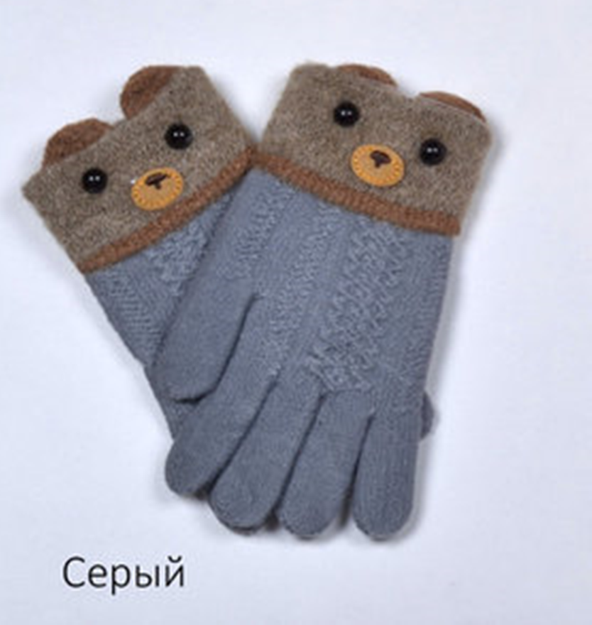 Перчатки Мордочки 3-5 лет Серый