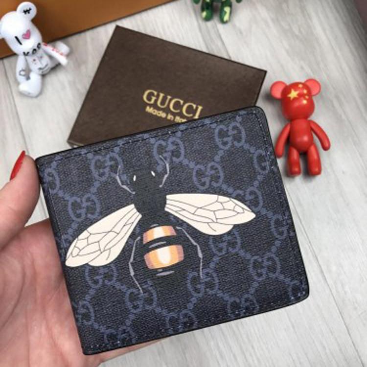 Трендовый мужской кошелек Gucci черный Премиум Качество бумажник Стильный VIP Молодежный Гуччи реплика