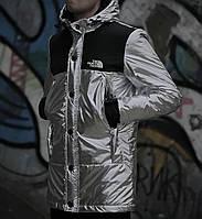 Мужская зимняя парка The North Face серебристого цвета топ реплика