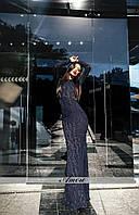 Модное вечернее платье рыбка, на спине цепочка с камушками