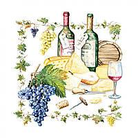"""Декупажные салфетки """"Вино и сыр"""" 33 х33 см 18,5 г / м2 (20 шт) Abiente №13306815 / 4035"""
