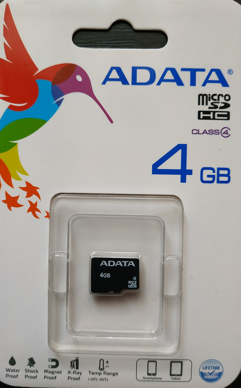 Карта памяти микро SDHC Adata 4 гб класс 4 без адаптера