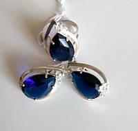 Комплект серебряный Сесилия с золотом и синим камнем