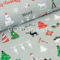 ✁ Отрезы бязи Счастливого Рождества серая, фото 1