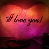 Светящаяся плюшевая Подушка – Сердце «I love You» красная, розовая, синяя