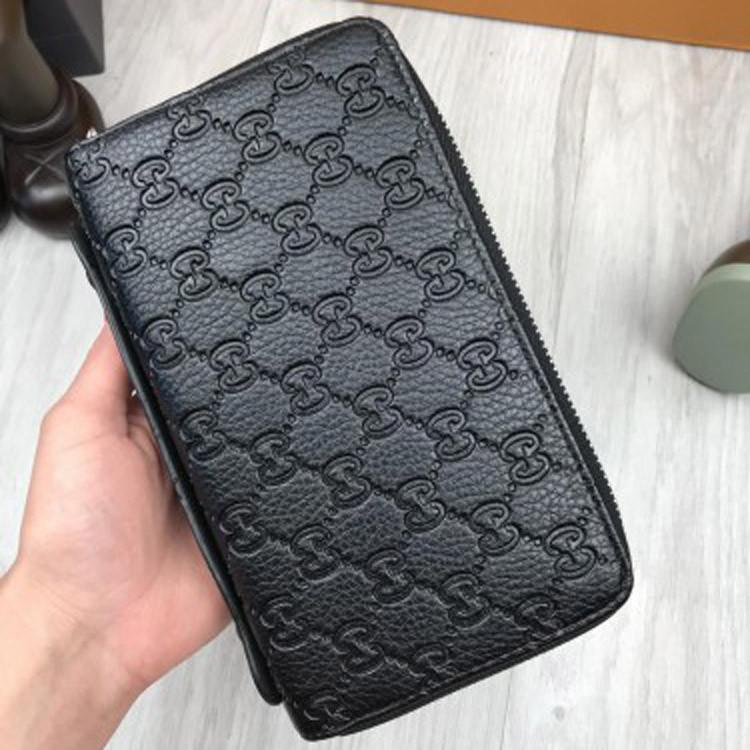 Стильный кошелек Gucci Signature черный клатч с ручкой 2 молнии мужской  женский портмоне кожа PU Гуччи реплика f5aa501383e90