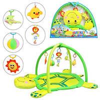 Коврик для младенца 898-12 B/0228-1 R (12шт) мягкая черепаха,дуги с подвесками (5шт),в сумке,80-58см