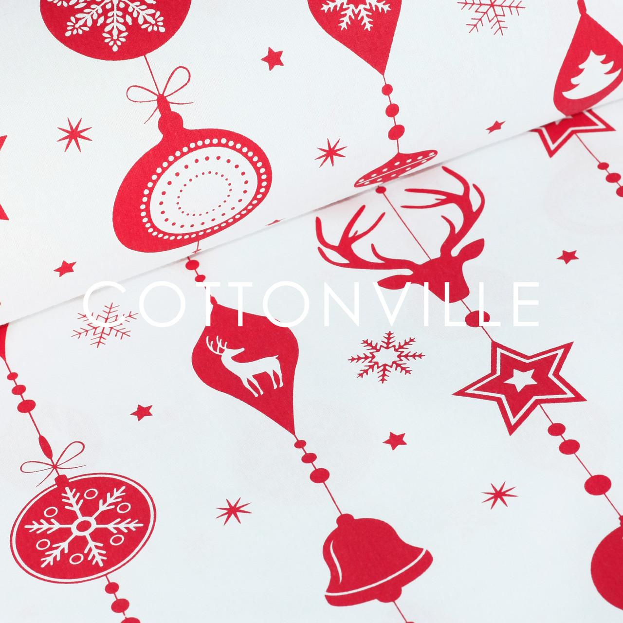 ✁ Отрезы Бязи Новогодние гирлянды красные на белом