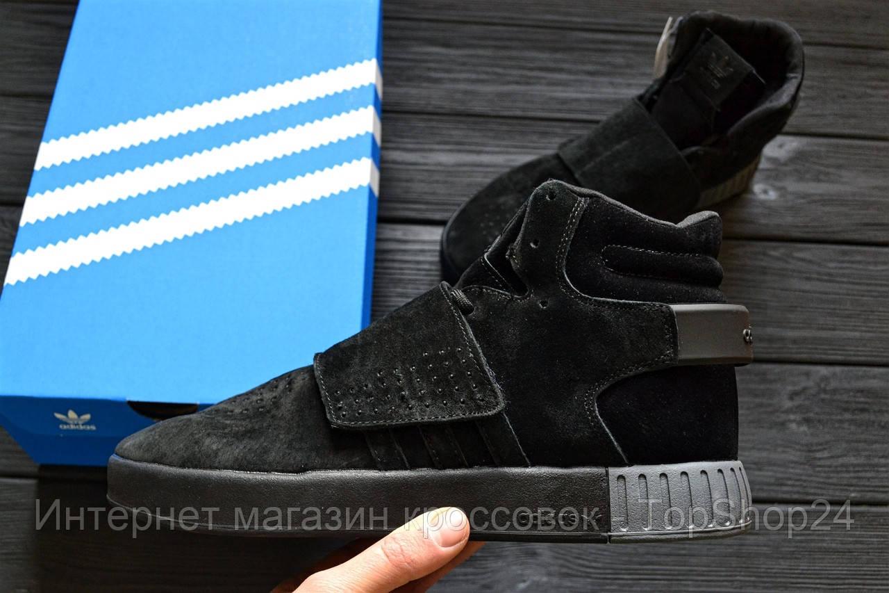 """Зимние кроссовки на меху Adidas Tubular Invader Strap """"Black Suede"""" (Черные) (реплика А+++ )"""