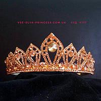 Корона под красное золото с золотистыми камнями, высота 4 см., фото 1