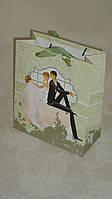 Пакет подарочный 18*21 с блеском свадебный