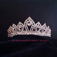 Свадебная диадема под серебро, корона, тиара, высота 4 см., фото 1