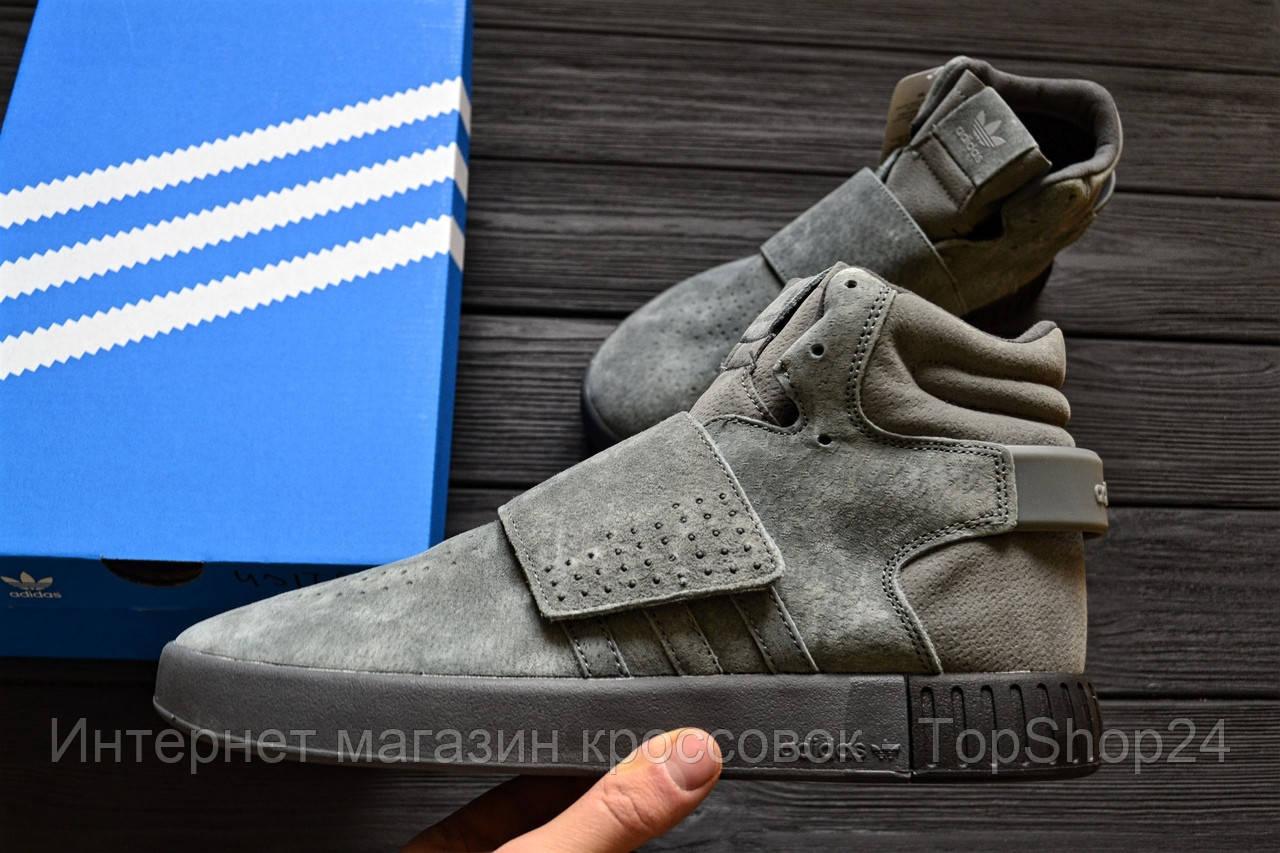 """Зимние кроссовки на меху Adidas Tubular Invader Strap """"Grey"""" (Серые) (реплика А+++ )"""