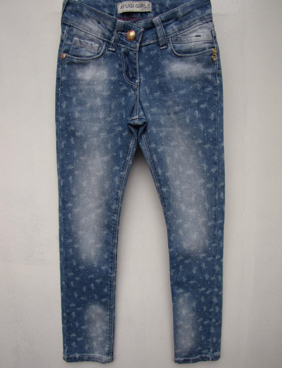 Стильні джинси для дівчаток 116,122,134,140 зростання в дрібну квіточку