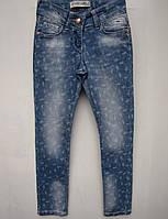 Стильные джинсы для девочек 116,122,128,134,140 роста в мелкий цветочек
