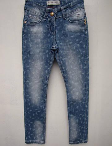 Стильні джинси для дівчаток 116,122,134,140 зростання в дрібну квіточку, фото 2