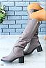 Сапоги трубы зимние кожаные серые на удобном каблуке