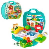 Магазин 8314 каса, продукти, кошик, 23 предмети, валіза, 22-22-10 см