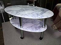 """Журнальный стеклянный столик  Эллипс """"белый мрамор"""" 85 х 55 х 56 см, фото 1"""