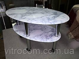 "Журнальний скляний столик Еліпс ""білий мармур"" 85 х 55 х 56 см"