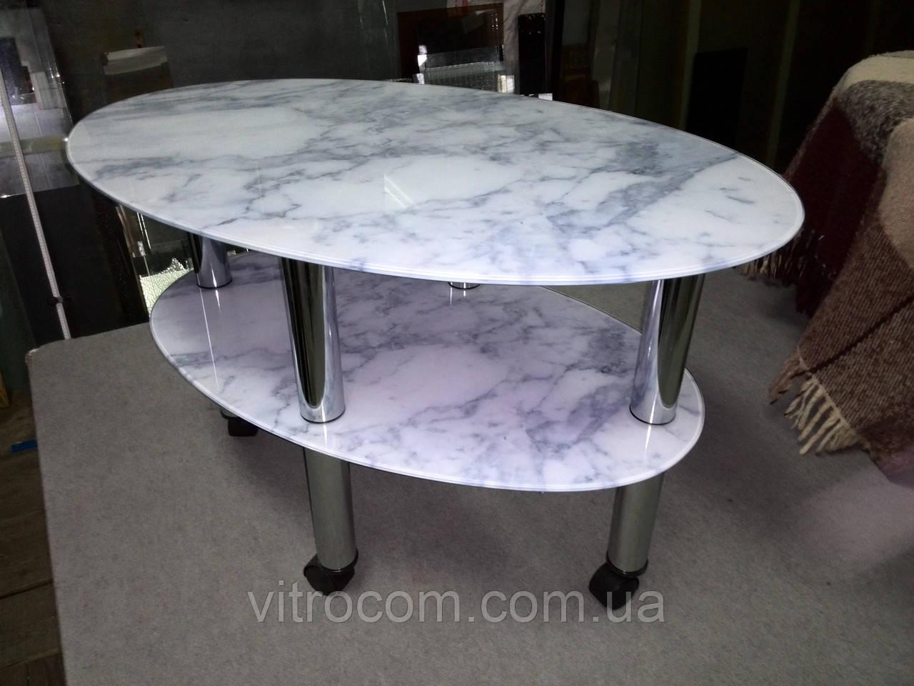 "Журнальный стеклянный столик  Эллипс ""белый мрамор"" 85 х 55 х 56 см"