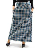 Длинная молодежная юбка Зоряна. Серо-голубая
