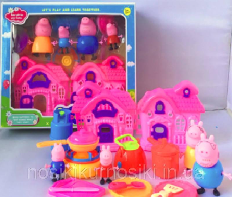 Игровой набор Домик Свинки Пеппы Peppa Pig кухня, 4 фигурки