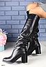 Сапоги зимние кожаные черные на удобном каблуке