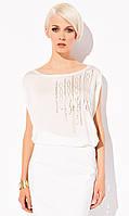 Летняя женская блуза свободного кроя Gerda Zaps молочного цвета.