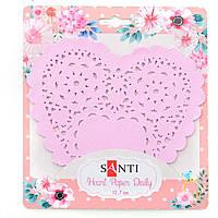 "Набор салфеток ажурных ""Santi"" сердце d12,7 см розовый (12 шт) №741690"