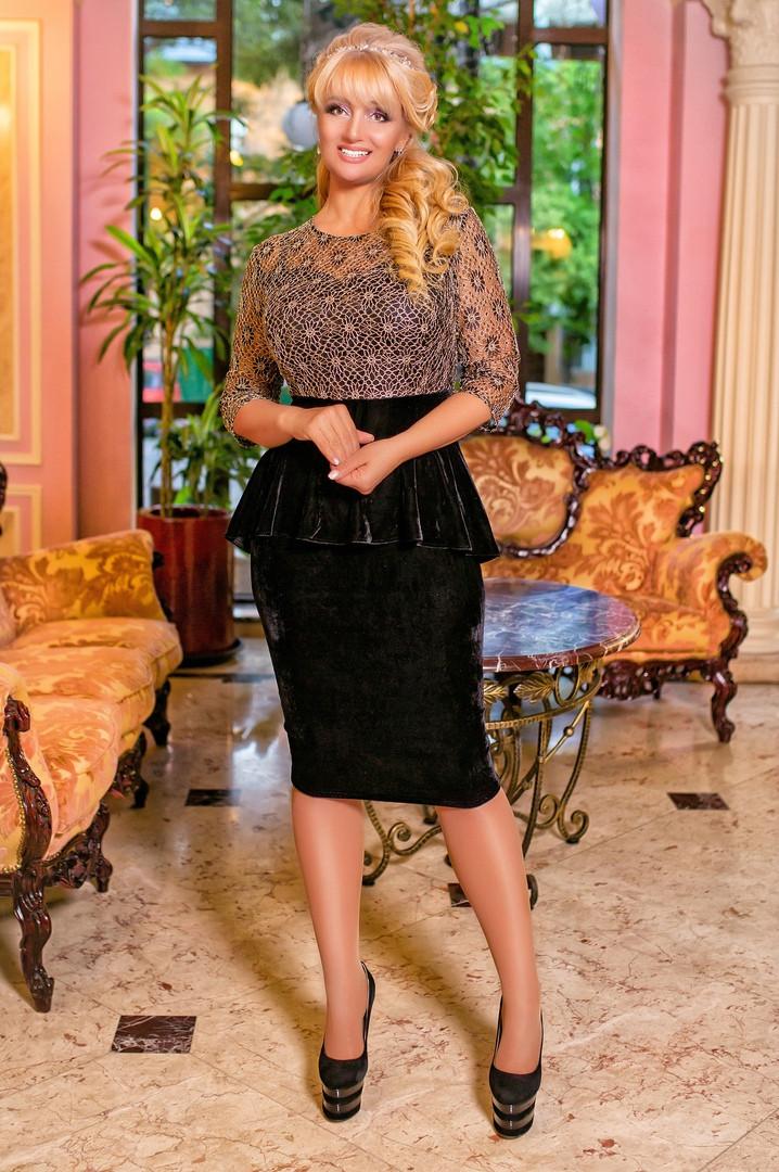 89963961b85 Элегантное женское платье с баской гипюр+вилюр БАТАЛ (50-56р ...