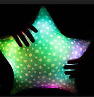 Светящаяся плюшевая подушка «Звездочка», голубая со снежинками
